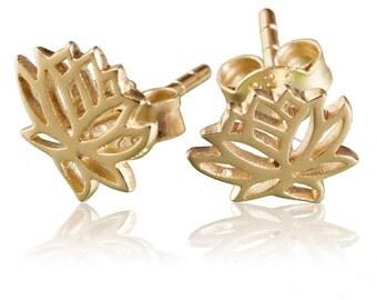 24K Gold Plated lotus flower ear studs, flower stud earrings, Lotus earrings, Lotus ear studs, Gold ear studs, yoga jewelry, Boho jewelry