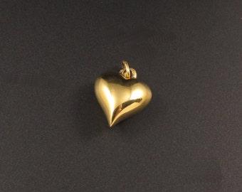 Puffy Heart Charm, Monet Heart Charm, Heart Charm, Monet Charm, Gold Heart Charm
