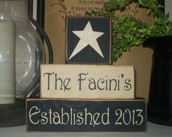 Custom Personalized Family Name Blocks Primitive Sign Blocks Shelf Tuck Established Date Anniversary Shower Gift Rustic Country Home Decor
