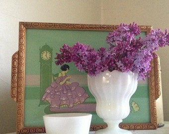 Vintage 1920s Purple & Green Deco Belle Decorative Tray