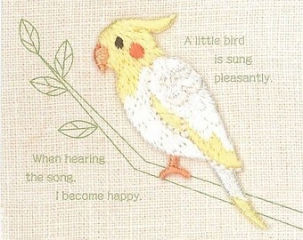 Cockatiel, Bird Patch, Kawaii Embroidered Iron On Patch, Japanese Cute Colorful Iron on Applique, Made in Japan, Embroidery Applique, W097