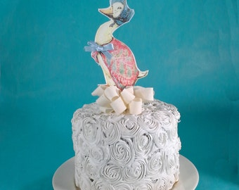 Shabby Chic Jemima Paddle Duck cake topper, fabric, birthday or shower party decoration G225