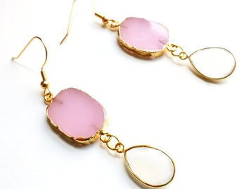 22k gold plated rose chalcedony with natural white chalcedony drops//chalcedony//dangle earrings//dainty//summer//pink//chalcedony earrings