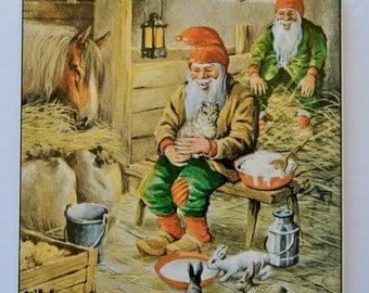 Erik Forsman Swedish Artist Gnomes in Barn Horse Stable Tile Wall Hanging Trivet