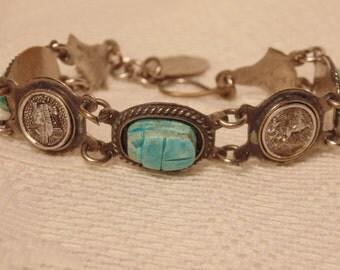 Vintage Egyptian Scarab Silver Bracelet Scarab Jewelry Scarab Bracelet Egyptian Bracelet Egyptian Bracelet Vintage Jewelry Vintage Bracelet