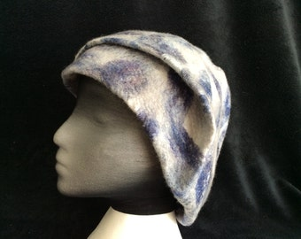 Wet felted merino wool winter hat.