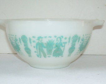 Pyrex Butterprint 401 Mixing Bowl 1 1/2 Pint, Amish Print, Cinderella Handles,  Pouring Spout, Nesting Bowls, Country Amish Rustic