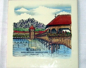Painted Tile Luzern Lucern Switzerland, Trivet, Wessel Co. made in Germany, Home Decor, Decorative Ceramic tile,  Germany Art