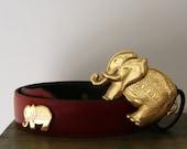 Vintage Crimson Leather and Gold Elephant  Avignon Belt Medium