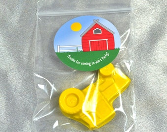 Tractors Party Favors Recycled Crayons, Total of 15 Crayons and 15 Farm Barn Stickers.  Boy or Girl Kids Unique Party Favors, Crayons.