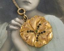 Antique Art Nouveau Gold Filled Pansy Locket Necklace, Paste Stone Pansy Locket, Large Heavy Repousse Flower Locket,  Signed SB & Co