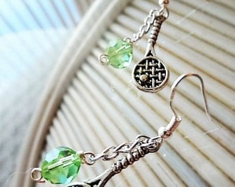 Let's Play - Tennis Racket Earrings with green Crystals