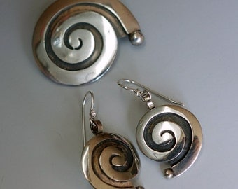 Mexico Sterling Spiral Earrings Brooch