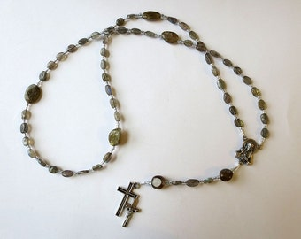 Small Labradorite Rosary, Gray Blue Catholic Rosary, with Scapular Medal Center