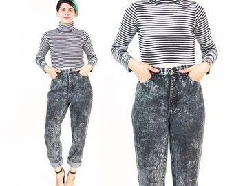 25% off SALE 1980s Black Acid Wash Jeans High Waisted Jeans Grunge Tapered Leg Jeans Slim Punk Skinny Jeans Mom Jeans Grunge Rocker Womens D