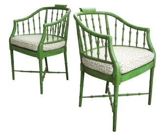 Pair Hollywood Regency Faux Bamboo Armchairs by Baker Furniture Chairs