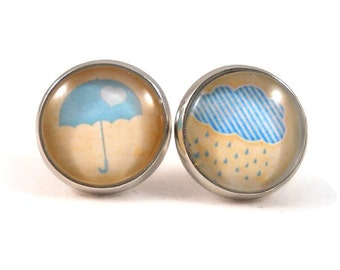 Umbrella & Rain Cloud Mix Match Earrings for Tweens Teens Gifts Under 20 Rain Cloud Jewelry Umbrella Jewelry Ready to Ship Gifts Gift Ideas