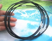 high quality 5pcs 3.0mm 12 -24 inch for your choose black GENUINE leather necklace cords with silver stainless needle clasps