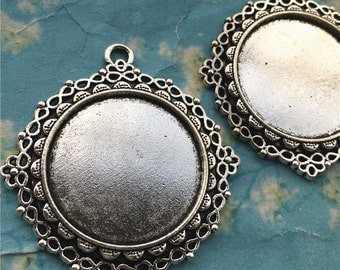 5pcs 41mm antiqued silver large size heavy style Infinity round bezel tray(30mm cabochon)base metal setting pendants