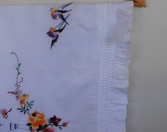 birds and flowers...vintage embroidered cotton pillowcase with ruffle