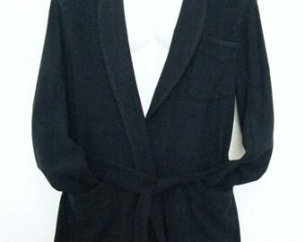 1950s Houndstooth Short Smoking Jacket, Wool Tri-Pocket Robe Blazer with matching Belt, mens small
