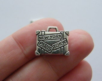 6 Suitcase charms antique silver tone CA74