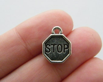BULK 20 Stop sign charms antique silver tone P256