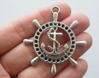 2 Helm anchor charms antique silver tone SC15