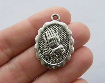 4 Praying hands charms antique silver tone R59