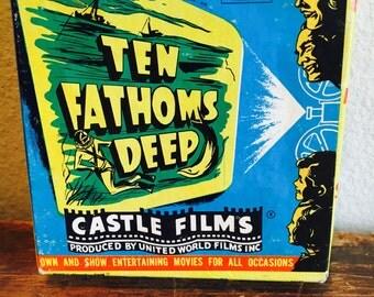 Vintage 1952 Jacques Cousteau Ten Fathoms Deep 8mm Film by Castle Fims No. 634