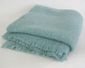 Large Vintage Mohair Blanket Throw Liberty of London Pale Aqua Scotland