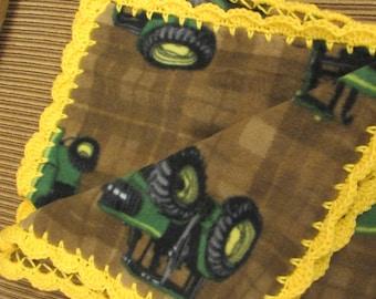 John Deere Fleece Brown Boy Baby Blanket With Bright Yellow Shell Crochet Edge