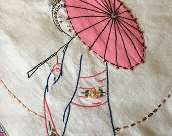 GEISHA GIRL embroidered on TABLECLOTH square white