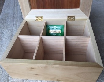 6 section Tea Box made from Poplar and Blackwood