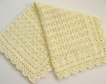 CROCHET PATTERN - Elegant Afghan/Blanket/Shawl - Heirloom Christening Baptism