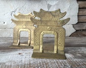 Solid brass Pagoda bookends made in Korea