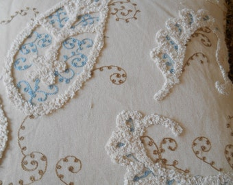 HAMILTON'S PAISLEY LANE aqua blue tan textured cotton upholstery fabric. 11-58-02-0414