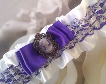 Purple and White Garter with Cameo