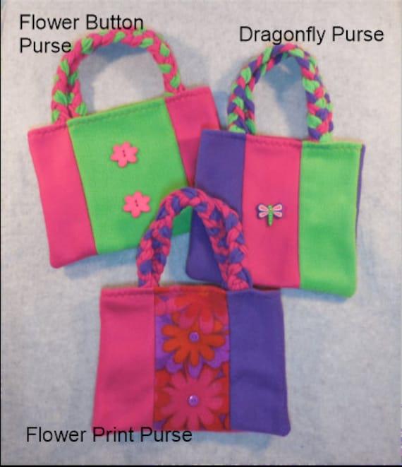 Dragonfly Purse, Flower Print Purse, Flower Button Purse -- Set of 3