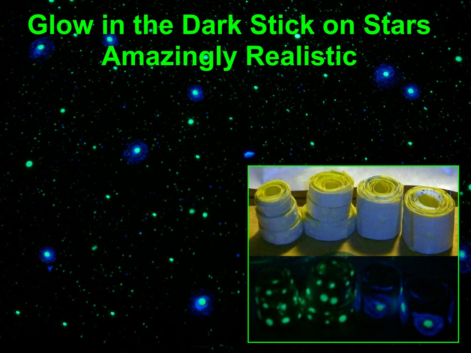 DIY Star Kit: FULL Bedroom Ceiling -Glow in the Dark - Peel and Stick - Hand Painted Glows ALL night long
