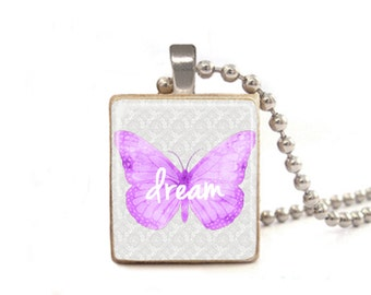 Purple Dream Necklace | Butterfly Necklace | Dream Pendant Charm | Graduation Gift | Word Necklace | Class of 2016