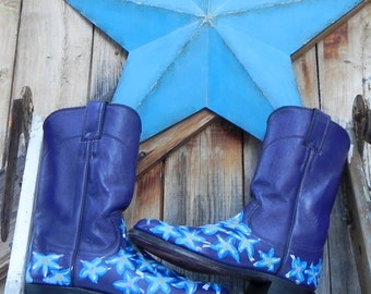 purple Justin boots, hand painted, women's size 6