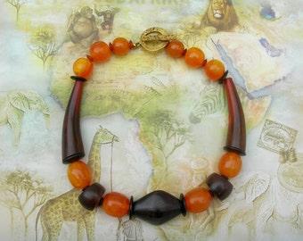 Tribal Modern, Natural Elements, Organic Beads - Amber, Horn & Ebony Wood, Unisex Choker Necklace by SandraDesigns