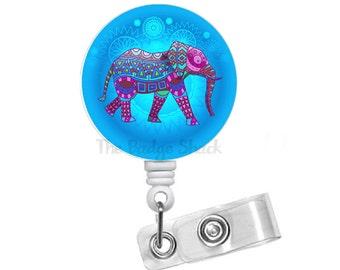 "Elephant Blue 1.5"" Badge Holder - ID Badge Reel - Zoologist Badge - Nursing Badge - School Badge Reel - Office Staff Badge - Animal Badge"