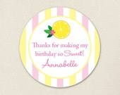 Pink Lemonade Party Favor Stickers - Sheet of 12 or 24