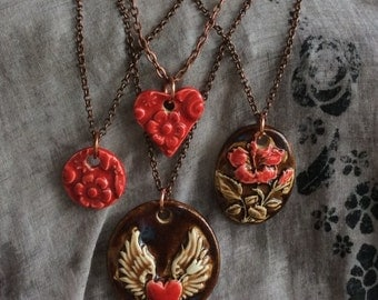 Red Heart Winged Heart Hibiscus Necklace - Kim OHara Designs
