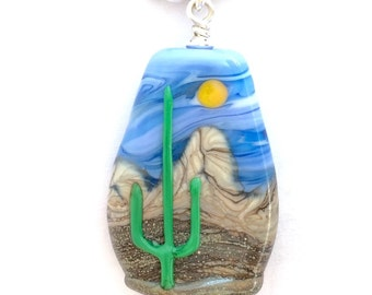 Handmade Lampwork 3D Saguaro Cactus Desert Sun Mountain Landscape Focal Bead Necklace with .925 Sterling Silver Findings