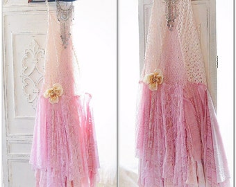 Boho sundress, Gypsy lace dress, French Parisian pink lace slip dress, Sexy cami slip dress, Retro 90's festival dress, True rebel clothing