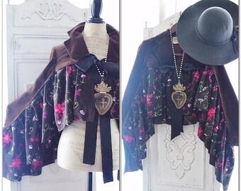 Stevie Nicks style Velvet coat, Chocolate Brown Autumn suede embroidered jacket, Boho shrug, Shabby cottage chic jacket, True rebel clothing