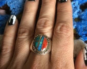 Vintage Old Zuni Opal Turquoise Coral Inlay Sterling Silver Ring